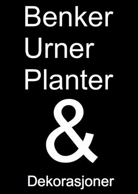Benker, urner, planter og dekorasjoner